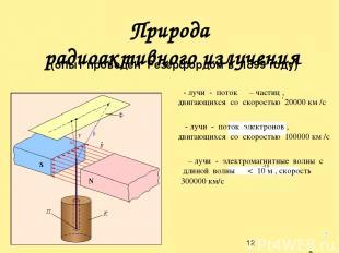 Природа радиоактивного излучения скорость до 1000000км/с (опыт проведен Резерфор