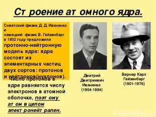 Строение атомного ядра. Вернер Карл Гейзенберг (1901-1976) Дмитрий Дмитриевич Ив