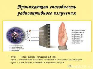 Проникающая способность радиоактивного излучения λ – лучи - слой бумаги толщиной