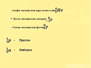 α -Альфа–частица или ядро атома гелия β - Бетта–частица или электрон γ – Гамма–ч