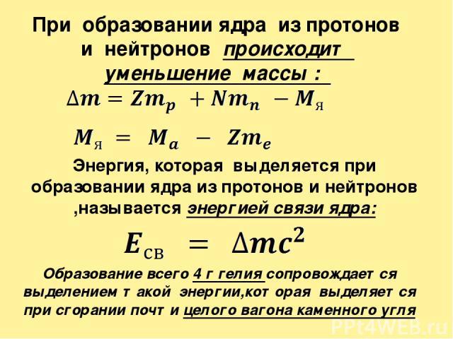 При образовании ядра из протонов и нейтронов происходит уменьшение массы : Энергия, которая выделяется при образовании ядра из протонов и нейтронов ,называется энергией связи ядра: Образование всего 4г гелия сопровождается выделением такой энергии,…