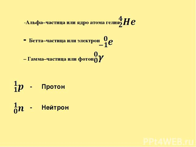 α -Альфа–частица или ядро атома гелия β - Бетта–частица или электрон γ – Гамма–частица или фотон - Протон - Нейтрон