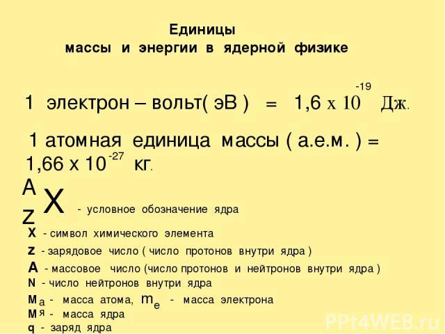 Единицы массы и энергии в ядерной физике 1 электрон – вольт( эВ ) = 1,6 х 10 Дж. 1 атомная единица массы ( а.е.м. ) = 1,66 х 10 кг. -19 -27 X - условное обозначение ядра z A X - символ химического элемента z - зарядовое число ( число протонов внутри…