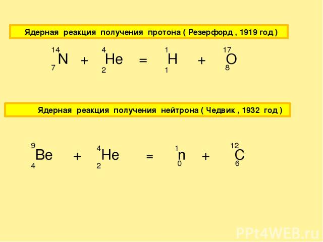 Ядерная реакция получения протона ( Резерфорд , 1919 год ) N + He = H + O 7 14 2 4 1 1 8 17 Ядерная реакция получения нейтрона ( Чедвик , 1932 год ) Be + He = n + C 4 9 2 4 0 1 6 12