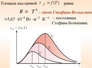 Площадь над кривой равна – закон Стефана-Больцмана – постоянная Стефана-Больцман