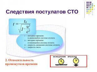 Следствия постулатов СТО 2. Относительность промежутков времени