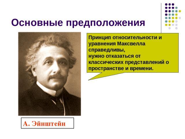 Основные предположения А. Эйнштейн Принцип относительности и уравнения Максвелла справедливы, нужно отказаться от классических представлений о пространстве и времени.