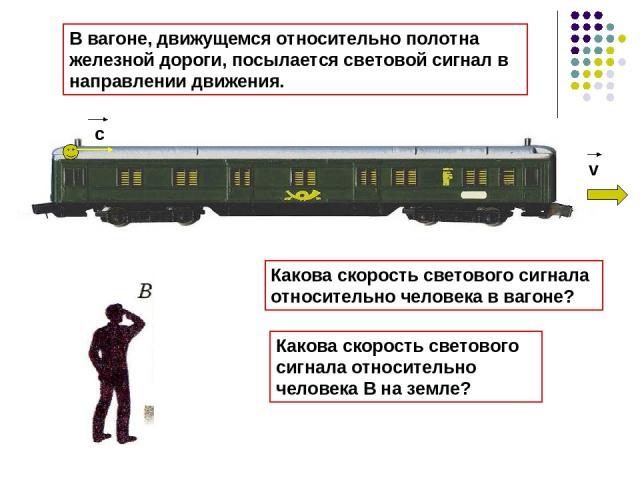 v c Какова скорость светового сигнала относительно человека в вагоне? Какова скорость светового сигнала относительно человека В на земле? В вагоне, движущемся относительно полотна железной дороги, посылается световой сигнал в направлении движения.