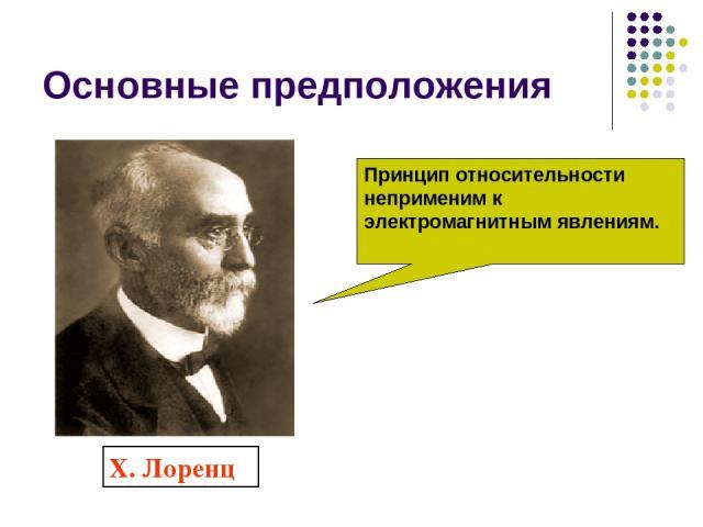Основные предположения Х. Лоренц Принцип относительности неприменим к электромагнитным явлениям.