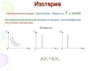 Изотерма Изотермический процесс. Закон Бойля – Мариотта. T = const. Изотермическ