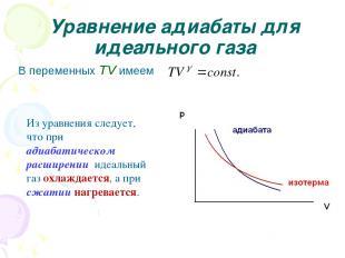 Уравнение адиабаты для идеального газа В переменных TV имеем Из уравнения следуе