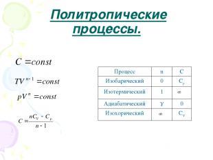 Политропические процессы. Процесс n C Изобарический 0 Cp Изотермический 1 Адиаба