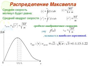 Распределение Максвелла Средняя скорость молекул будет равна: Средний квадрат ск
