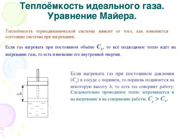 Теплоёмкость идеального газа. Уравнение Майера. Теплоёмкость термодинамической системы зависит от того, как изменяется состояние системы при нагревании. Если газ нагревать при постоянном объёме СV, то всё подводимое тепло идёт на нагревание газа, то…