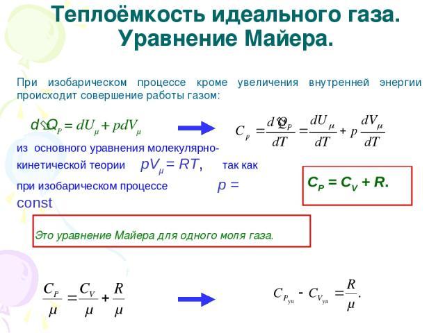 Теплоёмкость идеального газа. Уравнение Майера. При изобарическом процессе кроме увеличения внутренней энергии происходит совершение работы газом: d QP = dUμ + рdVμ из основного уравнения молекулярно-кинетической теории рVμ = RT, так как при изобари…
