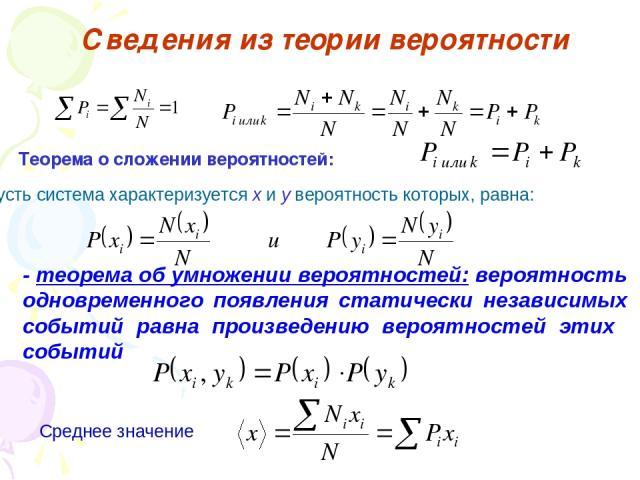 Сведения из теории вероятности Теорема о сложении вероятностей: Пусть система характеризуется x и y вероятность которых, равна: - теорема об умножении вероятностей: вероятность одновременного появления статически независимых событий равна произведен…