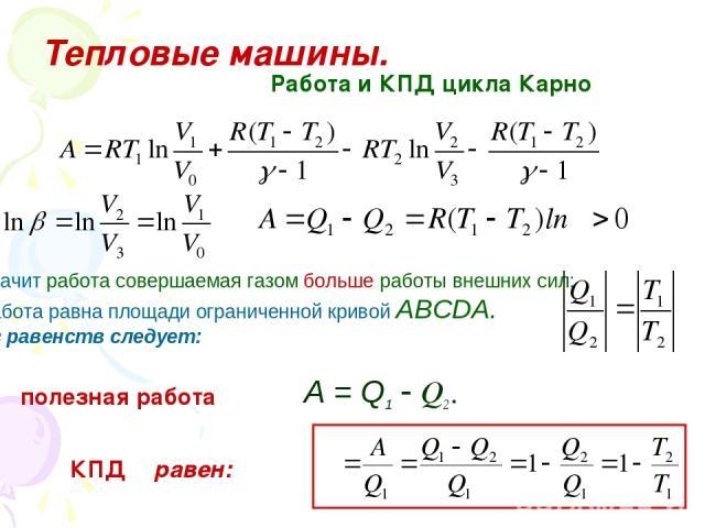 Тепловые машины. Работа и КПД цикла Карно Значит работа совершаемая газом больше работы внешних сил: Работа равна площади ограниченной кривой АВСDА. Из равенств следует: полезная работа А = Q1 Q2. КПД η равен: