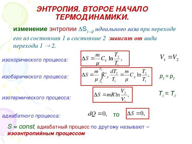 ЭНТРОПИЯ. ВТОРОЕ НАЧАЛО ТЕРМОДИНАМИКИ. изменение энтропии S1 2 идеального газа при переходе его из состояния 1 в состояние 2 зависит от вида перехода 1 2. изохорического процесса: изобарического процесса: p1 = p2 изотермического процесса: Т1 = Т2 ад…