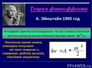 Теория фотоэффекта А. Эйнштейн 1905 год Поглотив квант света, электрон получает