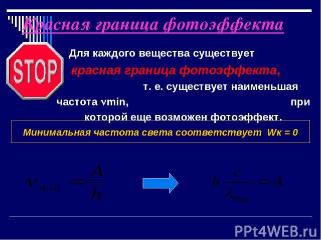 Красная граница фотоэффекта Для каждого вещества существует красная граница фотоэффекта, т. е. существует наименьшая частота min, при которой еще возможен фотоэффект. Минимальная частота света соответствует Wк = 0