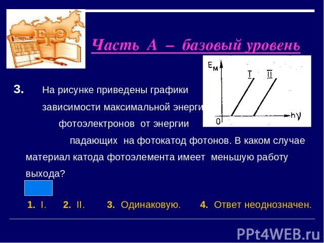 3. На рисунке приведены графики зависимости максимальной энергии фотоэлектронов от энергии падающих на фотокатод фотонов. В каком случае материал катода фотоэлемента имеет меньшую работу выхода? 1. I. 2. II. 3. Одинаковую. 4. Ответ неоднозначен. Час…