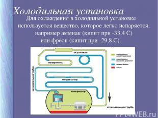 Холодильная установка Для охлаждения в холодильной установке используется вещест