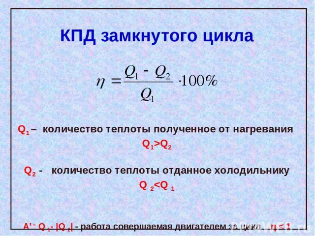 КПД замкнутого цикла Q1 – количество теплоты полученное от нагревания Q1>Q2 Q2 - количество теплоты отданное холодильнику Q 2