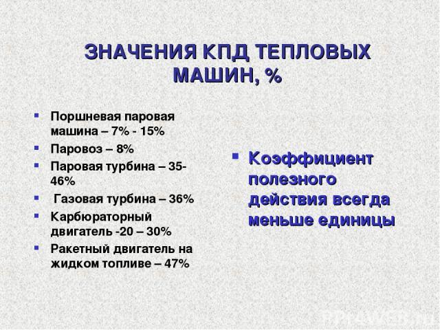 ЗНАЧЕНИЯ КПД ТЕПЛОВЫХ МАШИН, % Поршневая паровая машина – 7% - 15% Паровоз – 8% Паровая турбина – 35-46% Газовая турбина – 36% Карбюраторный двигатель -20 – 30% Ракетный двигатель на жидком топливе – 47% Коэффициент полезного действия всегда меньше …