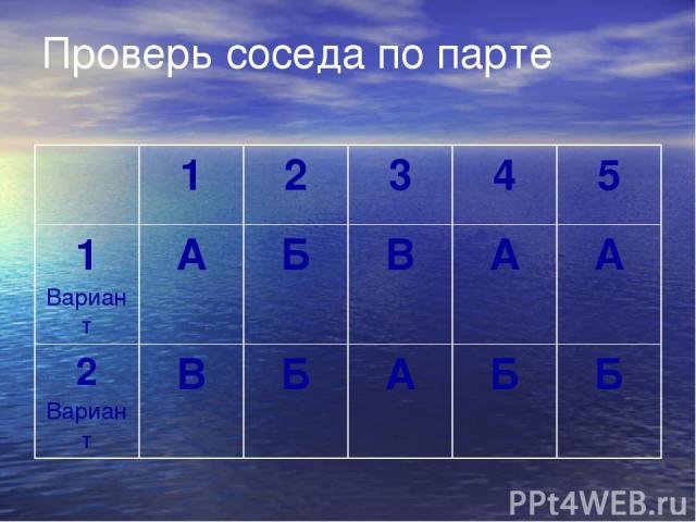 Проверь соседа по парте 1 2 3 4 5 1Вариант А Б В А А 2Вариант В Б А Б Б
