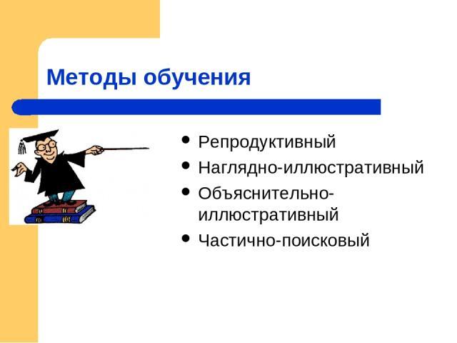 Методы обучения Репродуктивный Наглядно-иллюстративный Объяснительно-иллюстративный Частично-поисковый