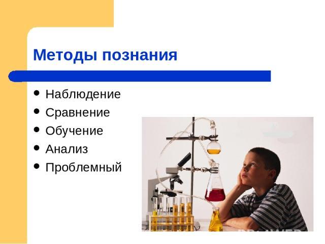 Методы познания Наблюдение Сравнение Обучение Анализ Проблемный