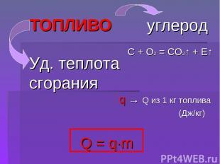 ТОПЛИВО Q = q∙m углерод C + O2 = CO2↑ + E↑ q → Q из 1 кг топлива (Дж/кг) Уд. теп