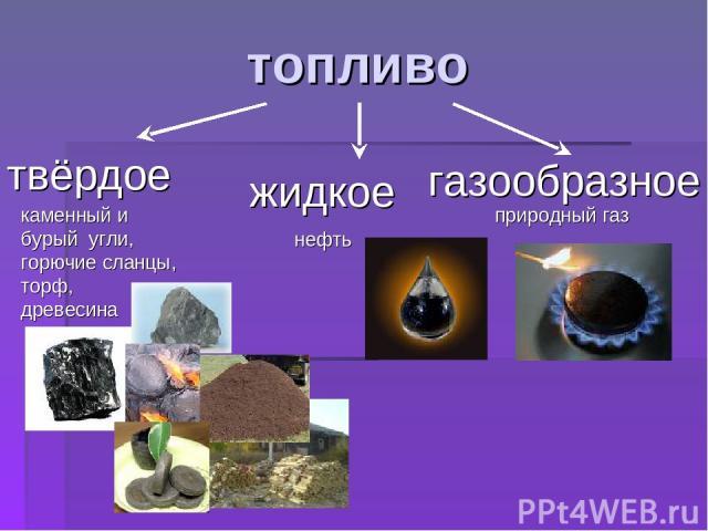 топливо природный газ твёрдое жидкое газообразное каменный и бурый угли, горючие сланцы, торф, древесина нефть
