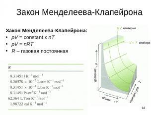 * Закон Менделеева-Клапейрона Закон Менделеева-Клапейрона: pV = constant x nT pV