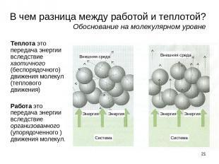 * В чем разница между работой и теплотой? Обоснование на молекулярном уровне Теп