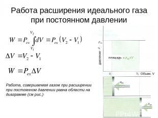 * Работа расширения идеального газа при постоянном давлении Работа, совершаемая