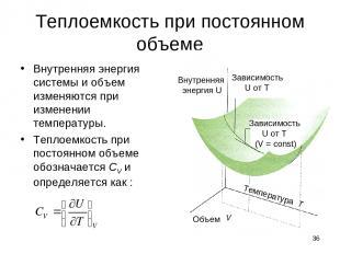 * Теплоемкость при постоянном объеме Внутренняя энергия системы и объем изменяют