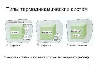 * Типы термодинамических систем Энергия системы - это ее способность совершать р