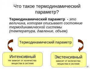 * Что такое термодинамический параметр? Термодинамический параметр - это величин