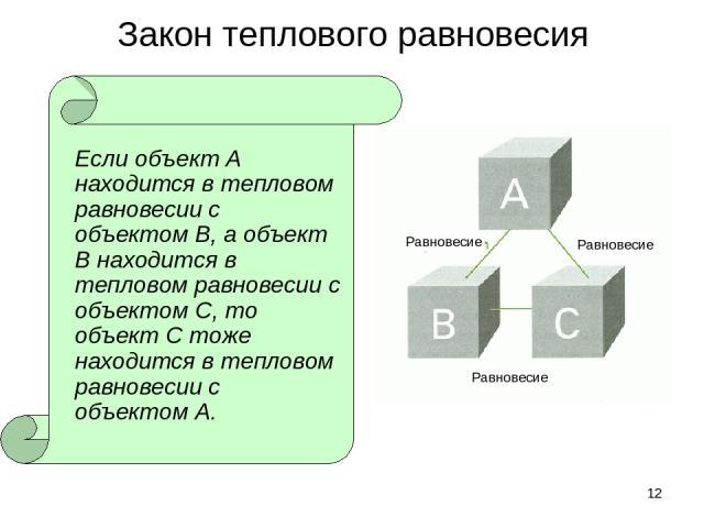 * Закон теплового равновесия Если объект А находится в тепловом равновесии с объектом В, а объект В находится в тепловом равновесии с объектом С, то объект С тоже находится в тепловом равновесии с объектом А. Равновесие Равновесие Равновесие