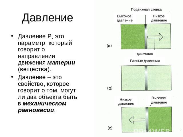 * Давление Давление P, это параметр, который говорит о направлении движения материи (вещества). Давление – это свойство, которое говорит о том, могут ли два объекта быть в механическом равновесии. Высокое давление Высокое давление Низкое давление Ни…