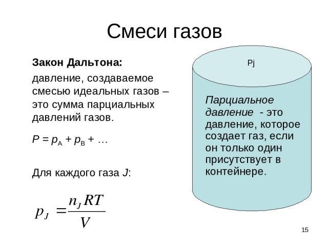 * Смеси газов Закон Дальтона: давление, создаваемое смесью идеальных газов – это сумма парциальных давлений газов. P = pA + pB + … Для каждого газа J: Парциальное давление - это давление, которое создает газ, если он только один присутствует в конте…