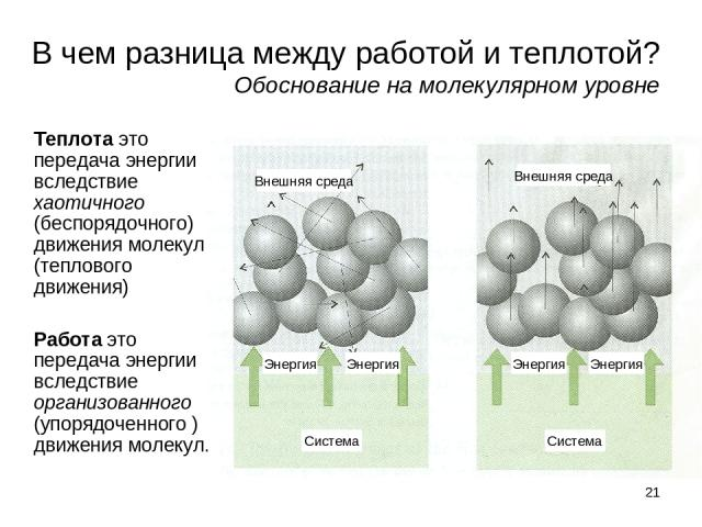 * В чем разница между работой и теплотой? Обоснование на молекулярном уровне Теплота это передача энергии вследствие хаотичного (беспорядочного) движения молекул (теплового движения) Работа это передача энергии вследствие организованного (упорядочен…