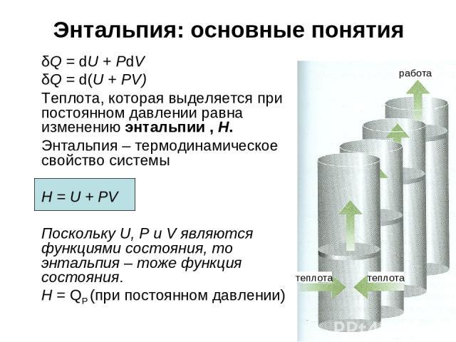 * Энтальпия: основные понятия δQ = dU + PdV δQ = d(U + PV) Теплота, которая выделяется при постоянном давлении равна изменению энтальпии , H. Энтальпия – термодинамическое свойство системы H = U + PV Поскольку U, P и V являются функциями состояния, …