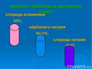 Окраска лакмоида в растворах солей: хлорида алюминия AlCl3 карбоната натрия Na2C
