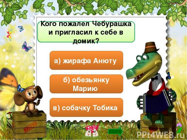 Кого пожалел Чебурашка и пригласил к себе в домик? б) обезьянку Марию в) собачку Тобика а) жирафа Анюту