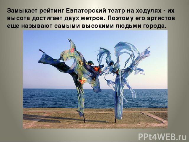 Замыкает рейтинг Евпаторский театр на ходулях - их высота достигает двух метров. Поэтому его артистов еще называют самыми высокими людьми города.
