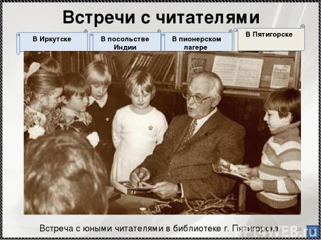 * В Пятигорске В пионерском лагере В посольстве Индии В Иркутске Встречи с читателями Встреча с юными читателями в библиотеке г. Пятигорска