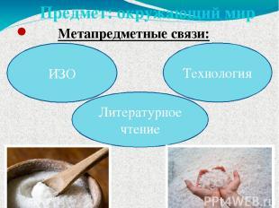 Предмет: окружающий мир Метапредметные связи: ИЗО Технология Литературное чтение
