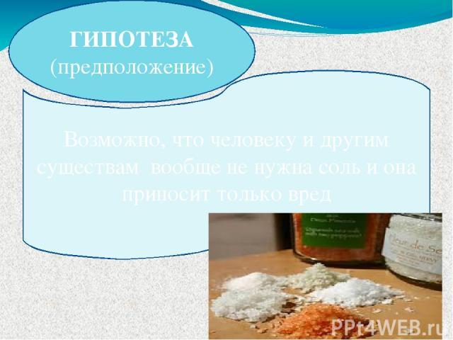 ГИПОТЕЗА (предположение) Возможно, что человеку и другим существам вообще не нужна соль и она приносит только вред